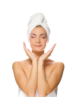 lady applying moisturizer to her face after shower
