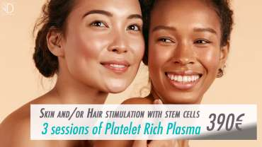 3 sessions of Plasma Rich in Platelets for skin and / or hair